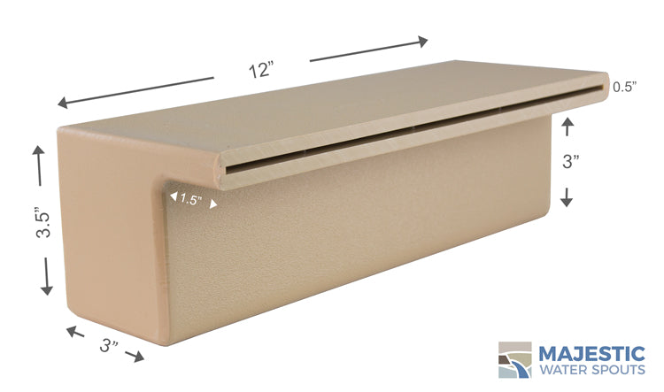 "Tomaso <br> 12"" Smooth Water Spillway - Tan"
