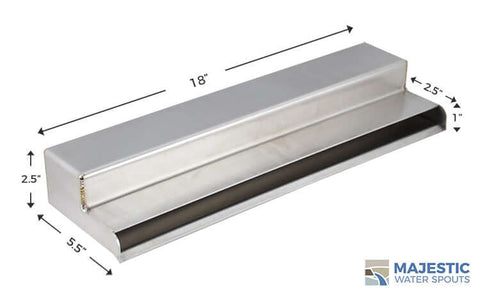 "Sutton <br> 18"" Shower Waterfall Scupper - Brushed Stainless Steel"