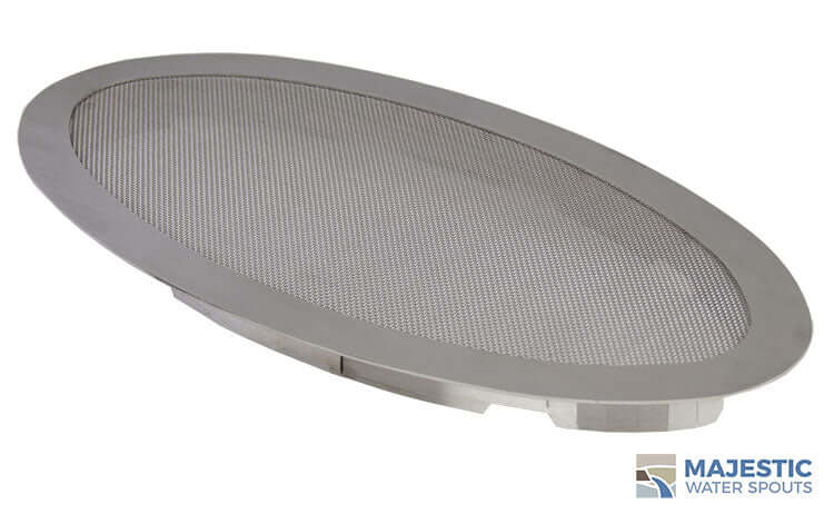 "SS 18"" Oval Fountain Splash Guard, Stainless Steel Majestic Water Spouts"