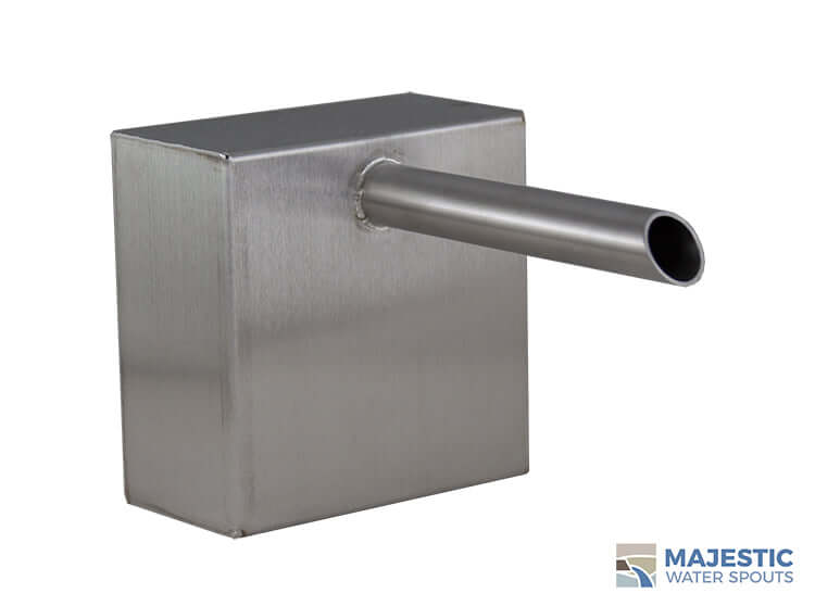 Stainless Steel Keegan 1 inch Boxed Cannon Water Scupper for pool fountain water feature by majestic water spouts