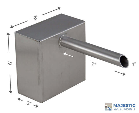 1 inch SS Boxed Cannon water scupper for water feature in pool and fountian