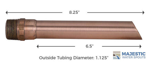 Copper 1 inch Round Tube water spout for pool fountain water feature and waterfall by Majestic Water Spouts