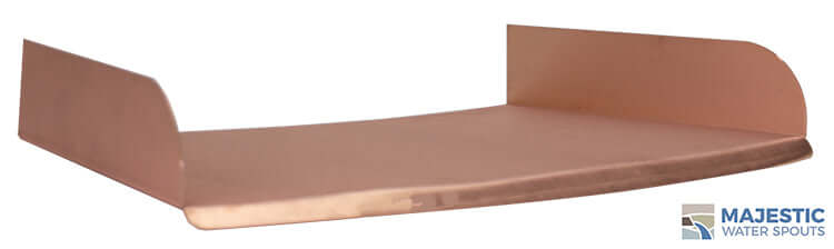 Copper Lombardi 24 inch Curved spa to pool fountain spillway by Majestic Water Spouts