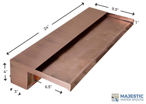 "Zanardi <br> 24"" Open Top Waterfall Spillway - Copper"