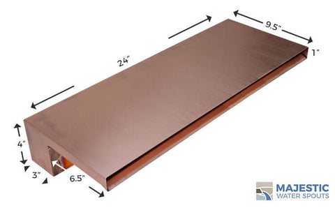"Zanardi <br> 24"" Closed Top Waterfall Spillway - Copper"