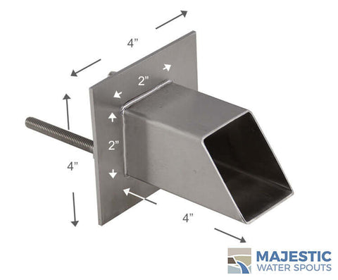 SS Square Water Spout for water fountain or pool by Majestic Water Spouts