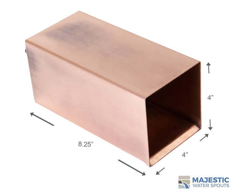 Copper 4 in square water fountain scupper for pool fountain and water feature