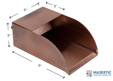 5 inch wide copper water scupper for fountain, pool water feature, indoor bath