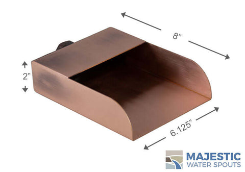 "Mosegi <br> 6"" Rectangular Water Spout - Copper"