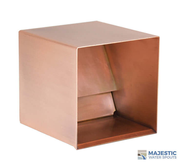 Copper 6 in Square Water Scupper for pool fountain and water feature