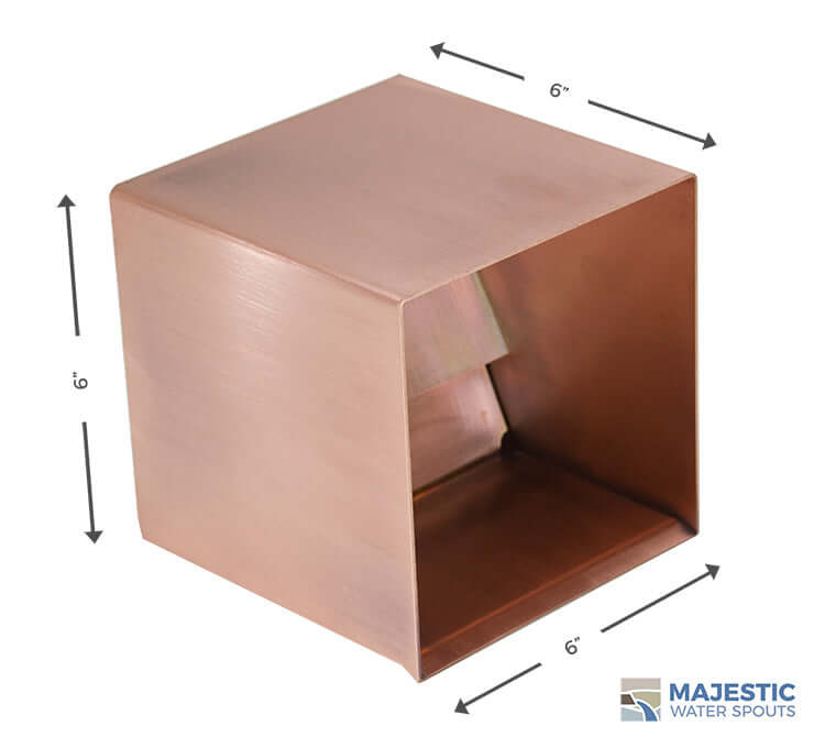 6 in Square Box copper water spout for modern pool and fountain water feature by majestic water spouts