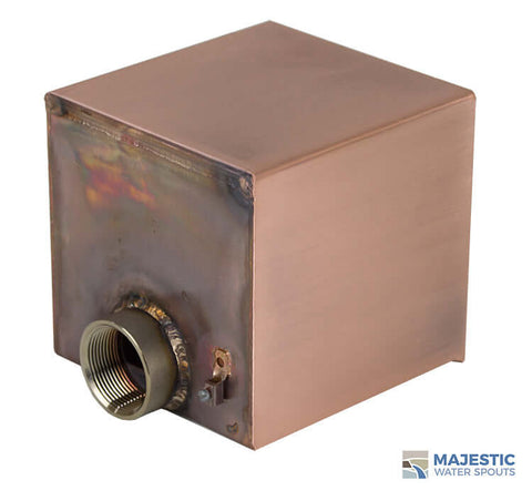 6 in Box Shape Copper water scupper for fountains, pools and water features