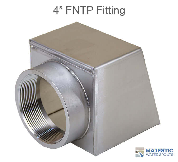 Stainless steel roof drainage scupper with 6 inch opening and 4 inch back fed fitting