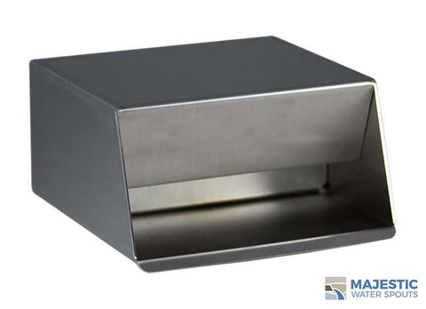 Stainless Steel Hamilton 6 in in-wall water scupper for waterfall and pool water feature by majestic water spouts