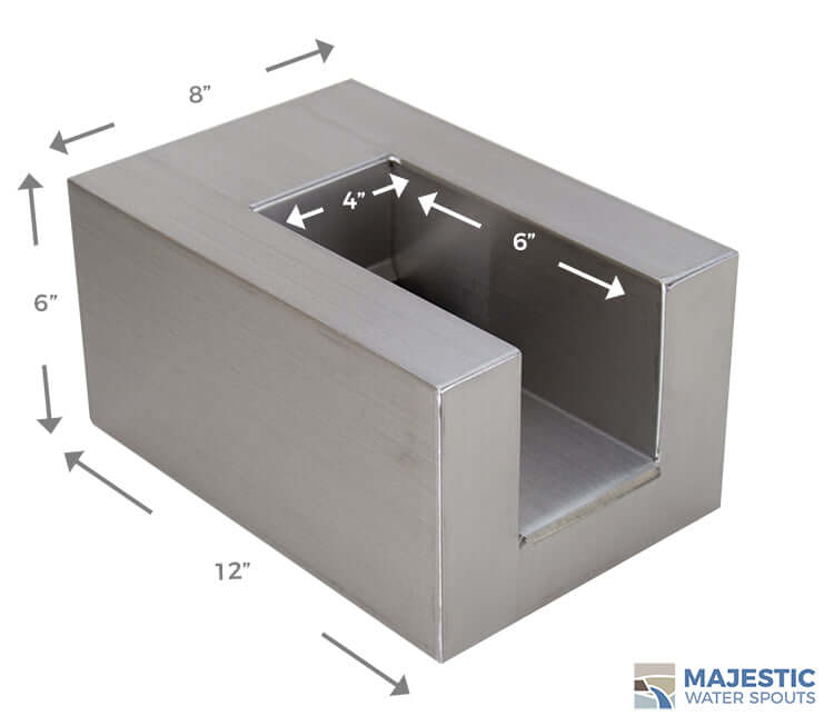 Stainless steel 8 in U shape water scupper for pool and water fountain