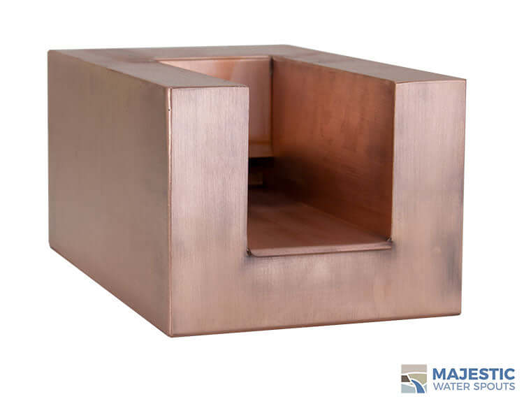 "Copper Cayman 8"" U Style Pool and Fountain water scupper by Majestic Water Spouts"