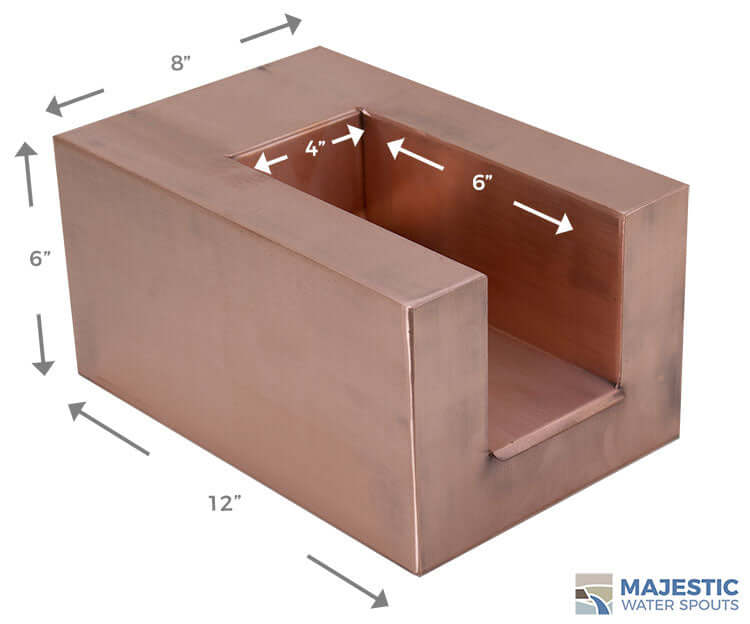 Copper U Shape Water Scupper for pool spa and water fountain