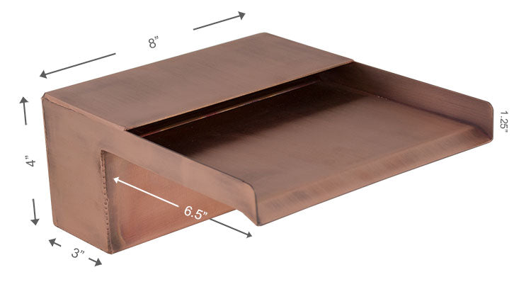 "Zanardi <br> 8"" Open Top Waterfall Spillway - Copper"