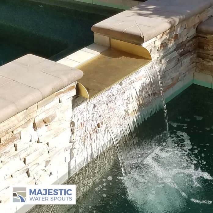 "Lombardi <br> 8"" Spa-to-Pool/Fountain Spillway - Brass"