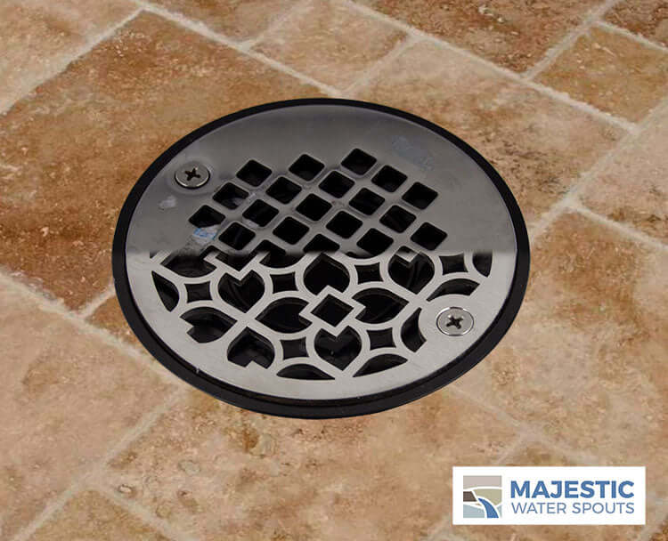 "Louvre <br> 4"" Round Drain Cover - Brushed Stainless"