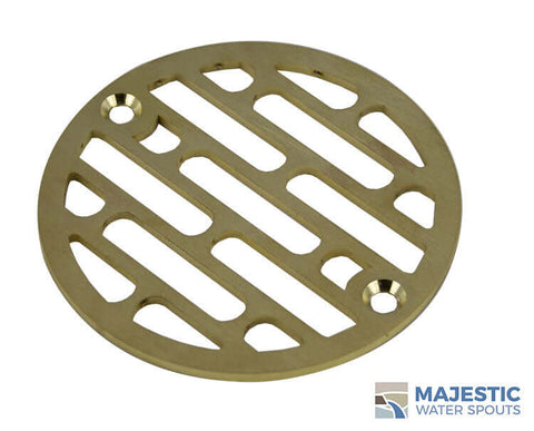 "Galleria <br> 4"" Round Drain Cover - Brushed Brass"