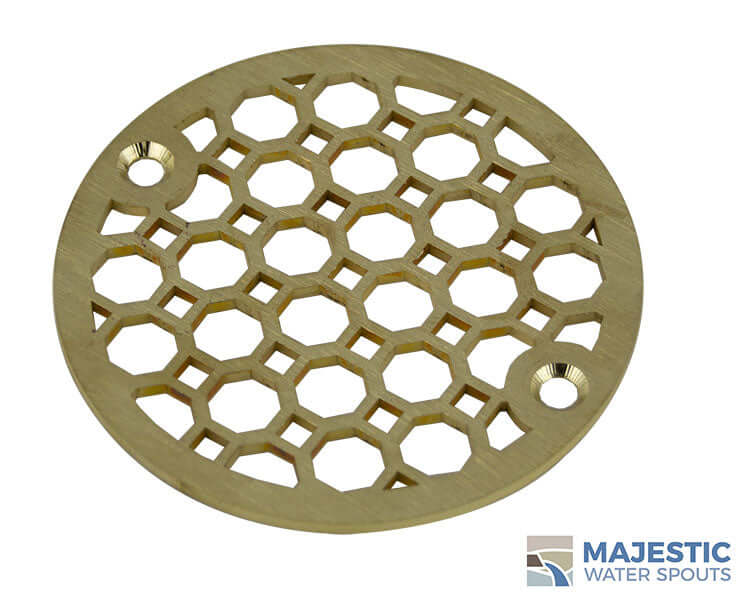 Brass Designer Decorative Jacque 4 inch round drain cover for shower by Majestic Water Spouts