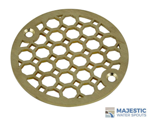 "Jacque <br> 4"" Round Drain Cover-  Brushed Brass"