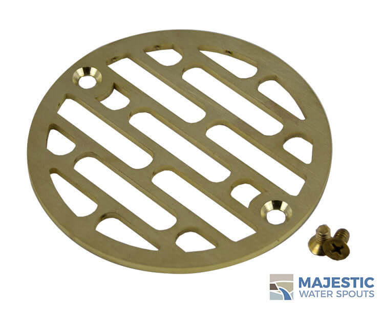 Decorative brass 4 in shower drain cover by Majestic Water Spouts
