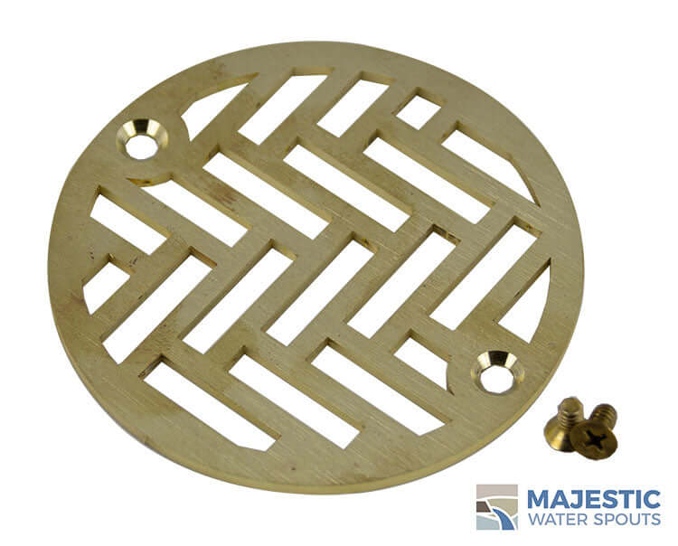 "Louis <br> 4"" Round Drain Cover - Brushed Brass"