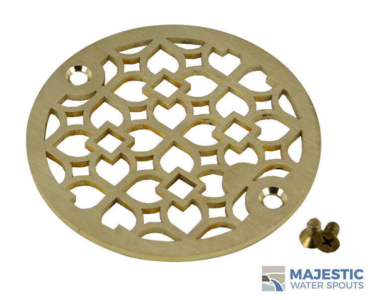 "Louvre <br> 4"" Shower Drain Cover - Brushed Brass"