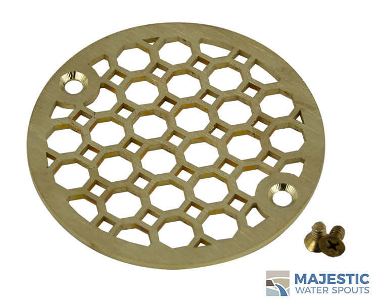 "Brass 4"" Round Decorative shower drain cover"