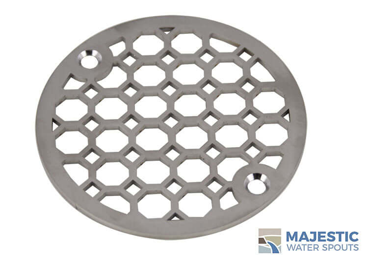 Stainless steel Jacque Decorative 4 inch shower drain cover by Majestic Water Spouts