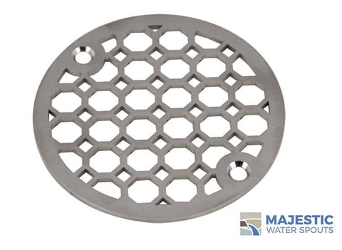"Jacque <br> 4"" Round Drain Cover - Brushed Stainless"