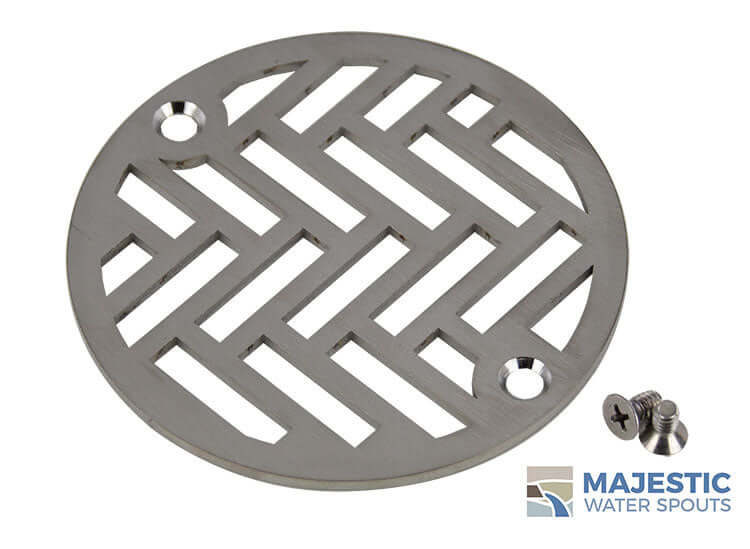 "Louis <br> 4"" Round Drain Cover - Brushed Stainless"