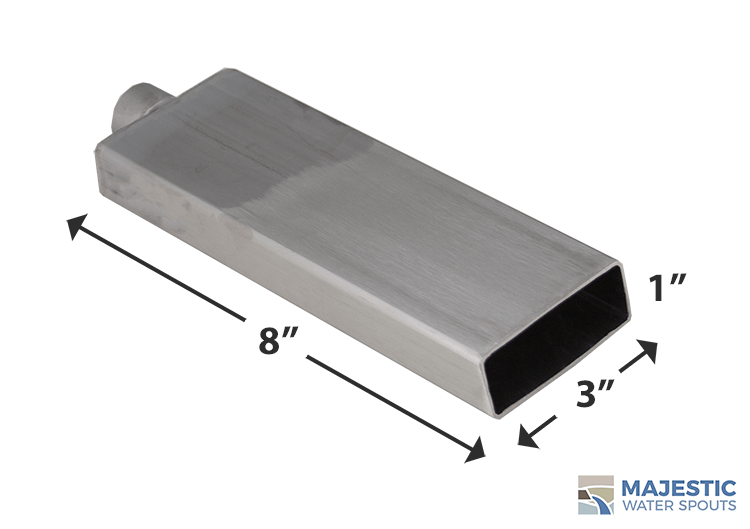 "Stainless Steel 1"" x 3"" Rectangular Water Spout for pool spa and fountain"