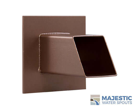 Copper Style 2 in Square Water Spout for waterfall fountain and pool by Majestic Water Spouts