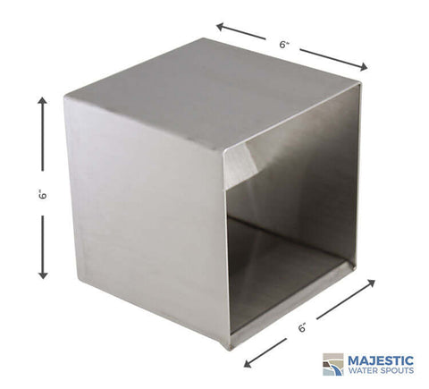 "Hugo <br> 6"" Square Box Scupper - Stainless Steel"