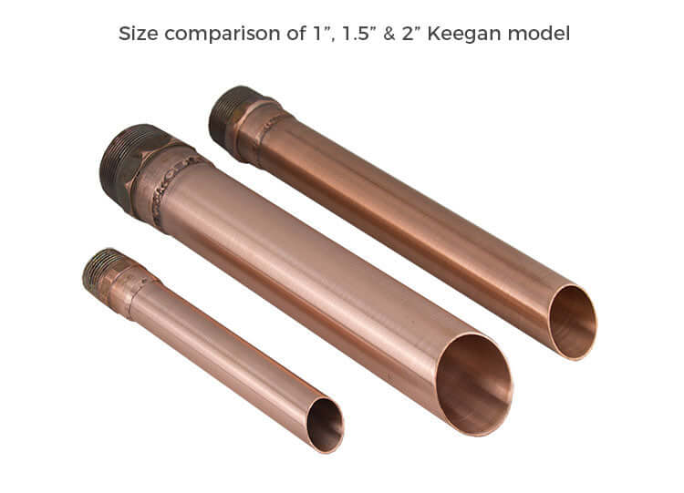 Comparison 1 inch 1.5 inch 2 inch Keegan Copper round tube water spout for pool water feature and fountain