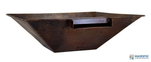 "Mesa <br> 31"" Square Water & Planter Bowl - Hammered Copper"