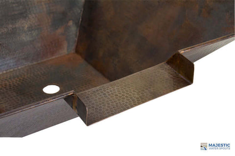 "Mesa <br> 31"" Square Water Bowl - Hammered Copper"