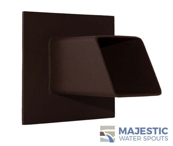 Rust Brown 2 inch square water spout for waterfall fountain in pool or spa by Majestic Water Spouts