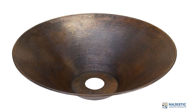 "Solana <br> 31"" Round Planter Bowl - Hammered Copper"