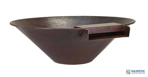 "Solana <br> 31"" Round Water & Planter Bowl - Hammered Copper"