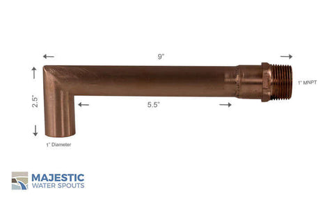 "Villeneuve <br> 1"" Water Fountain Spout Copper"