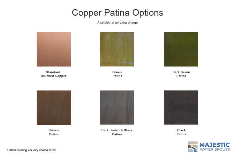 Patina color options for rectangular copper water scupper - black, brown, green,