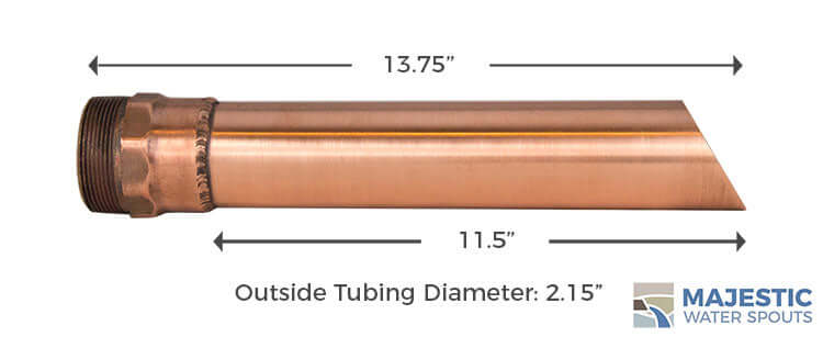 Copper 2 inch Round Tube Water Spout for pool fountain water feature