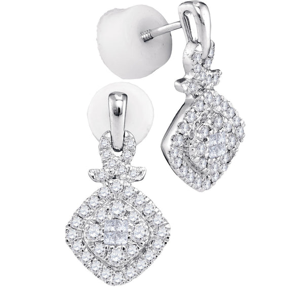14kt White Gold Womens Princess Diamond Soleil Square Frame Cluster Dangle Earrings 1/2 Cttw