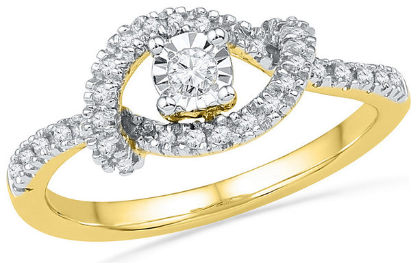 10kt Yellow Gold Womens Round Diamond Cradle Solitaire Promise Bridal Ring 1/4 Cttw