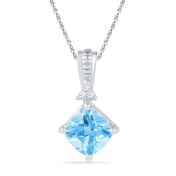 10kt White Gold Womens Princess Lab-Created Blue Topaz Solitaire Pendant 2-3/8 Cttw