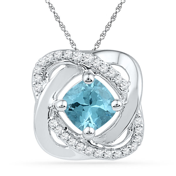 10k White Gold Womens Lab-Created Blue Topaz & Diamond Square Pendant 3/4 Cttw